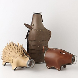 Leather Animal Carafes! Piglet, Armadillo, and Porcupine!