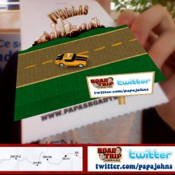 "Augmented Reality for ""Papa John's Pizza"". Print the logo and drive the car on a road trip !"
