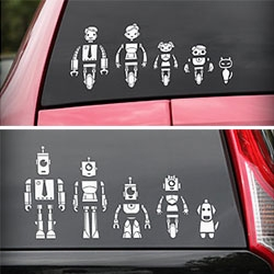 Robot Family Stickers for your Car - you can mix and match the heads, arms, bodies, legs and even dogs and cats!
