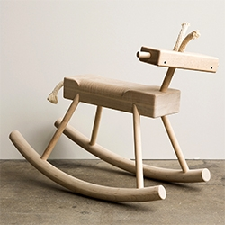 Monroe Workshop Robot Monkey Rocking Horse. Available in solid maple with a cotton rope mane and tail.