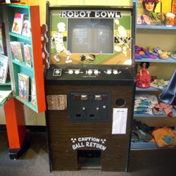 Robot Bowl - the only Robot Bowling arcade game sitting in a sewing shop in the entire world.