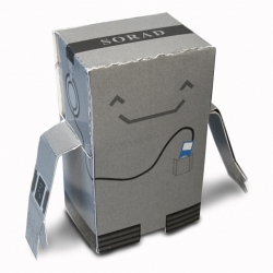 A cute little paper robot you can print out and assemble