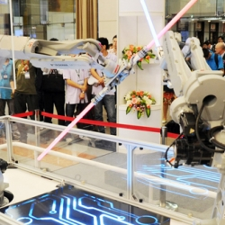 Japanese robotic firm Yaksawa teach robots how to use lightsabers.