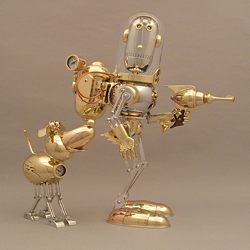 #670 and #667 reminded me of a another fantastic sculptor I saw in a robot book I got for my birthday last year. I just love how shiny and sleek his robots are.