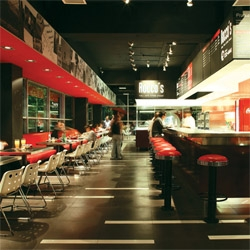 Interiors for Rocco's Pizza in Santiago de Chile by Ramirez Moletto Architects.