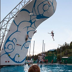"""The Psicobloc Masters Series is the first major deep-water soloing competition held in the U.S. Climbers competed head-to-head on identical routes up a 50-foot wall, no ropes or harnesses, just a massive swimming pool below to catch their fall."""