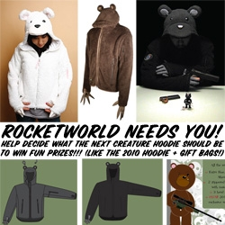 Rocket World is trying to decide on what the 2010 Creature Hoodie should be... and they want your help! Help them out by sharing your opinion and get a chance to win prizes too...