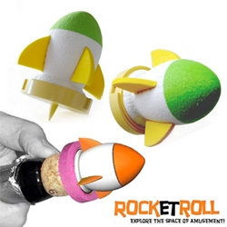 Rock-et Roll ~ by zo_loft! A foam rocket that attaches to your champagne cork with a streamer with your message attached!