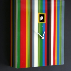 Designed in Italy from the famous clock manufacturers Diamantini and Domeniconi this is their latest design Cuckoo Clock. The Cuckoo Clock is hand made using coloured resin in fabulous stripes. It reminds me of the Paul Smith stripe design.