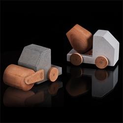 Studio Paulsberg Petite Bétonneuse and Petite Rouleau Compresseur: wood and concrete construction toys.