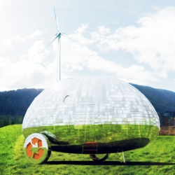 Aerodynamic Eco-capsule, part gypsy wagon, part RV trailer, Nice Architect's Rolling Stone mobile home is compact, environmentally friendly materials, self-sufficient in terms of energy, water and waste.