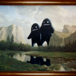 Vintage Vandals: a group of artists are sent out to make their own mark on crappy thrift store art.  Still a few pieces for sale.