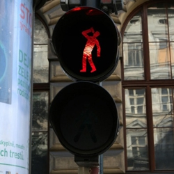 Czech artist Roman Tyc replaced 48 traffic lights in Prague with red and green figures performing acts such as walking a dog, drinking and urinating, just to name a few...