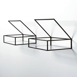 Ron Gilad's minimal 'Open Box Shelves'. Enameled brass, ultra clear glass and felt.