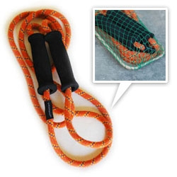 Upcycled jump ropes! these skip ropes are made from reclaimed mountain climbing rope and even the soft black rubber handles are made of reclaimed materials.