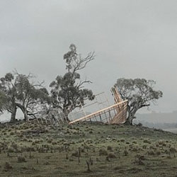 Panoramic photographs by Rosemary Laing capturing the framework of a partially completed building in New South Wales.