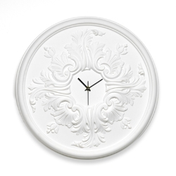 RosOne is an elegant wall clock made by a polystirene ceiling rose usually employed in interior decorations.