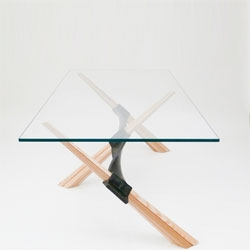 Carmela, a wrough-iron, wood and crystal table by Rota-Lab and Arte Stenico.