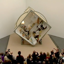 """Zeger Reyers' installation """"Rotating Kitchen"""" is a kitchen that rotates slowly and will continue to do so through February. Part of the program """"Eating the Universe"""" at the Kunsthalle Düsseldorf."""