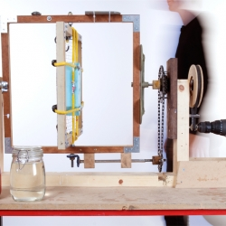 The D.I.Y rotation moulding machine was built to replicate the industrial process by Andrew Duffy, Craig Tyler and Edward Harrison. Built at no cost from scrap materials and simply powered by a cordless drill.
