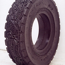 Betsabee art is about carving awesome tires and make prints out of them .. how cool is that  ?