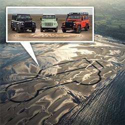 Land Rover goes back to the Red Wharf Bay in Anglesey where the first idea of a Land Rover was drawn in the sand, only this time they use 6 Land Rovers to draw one that is 1km! This is just the start of their year of the Defender.