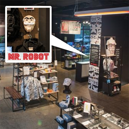 "Mr. Robot themed shop has popped up in Manhattan. They've sponsored a ""disrupt""-themed installation at Story. ""Complete with a socially-powered vending machine and a hackable ATM doling out $50 to skilled techies..."""