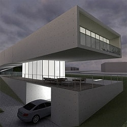 RSVP architects villa for the ORDOS 100 project. The house bends and elevates, freeing the ground level.