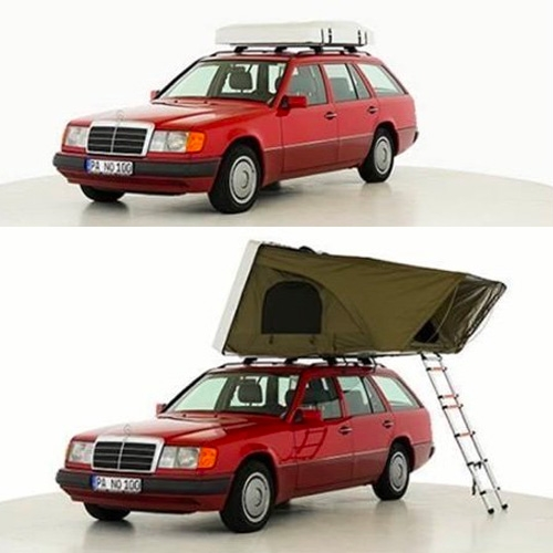 Panorama - Interesting hard shell roof top tent design by Jan Loss and Lukas von Rantzau on Kickstarter. What's really most striking are the images of it on that cherry red vintage Mercedes station wagon!