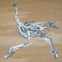 Rubble Animal inspired by graffiti, architecture, and graphic design. Enamel paint on birch. By RWHM.