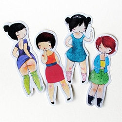 "Stasia Burrington's Rude Girls include ""the Finger"" ""the Moon,"" ""the Shocker,"" and one other..."