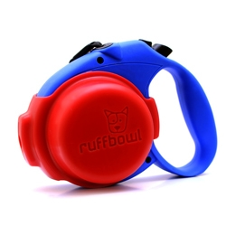 Ruff Bowl is a portable water bowl that clips on to your retractable leash. It also holds a plastic bag, and can hold 4.5oz of water.