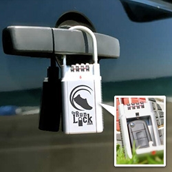The Run Lock ~ a combination lock you can lock your keys in and attach to your door handle, tow hitch, etc.