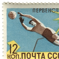 a collection of 10 vintage stamps depicting the game of soccer ranging from the 1930s through the 70s.