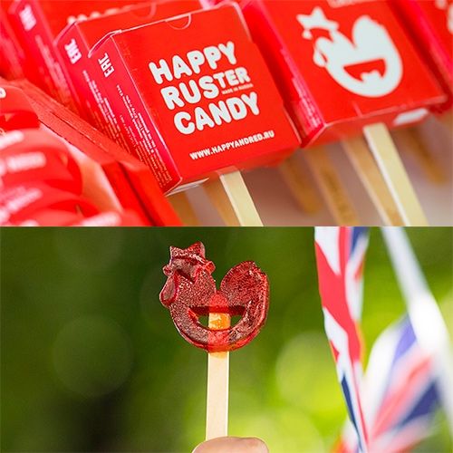 Happy & Red RUSter Candy - adorable lollipop shape and packaging.