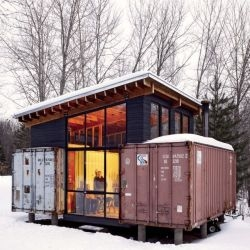 The brothers Stankey have finally completed their 'Rustic Reuse Cabin', built from 2 shipping containers and located on their family property in northern Minnesota. And it only cost 15 grand. Awesome.