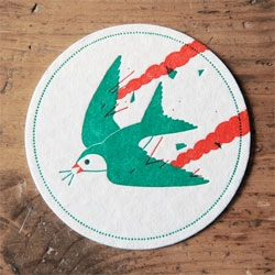 Ornithological letterpress coasters by Ryan Todd.
