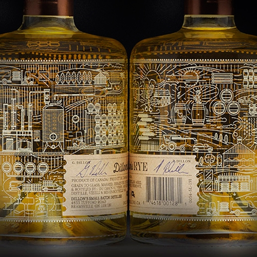 Dillon's Small Batch 100% Rye Whisky had such great graphics and packaging! Designed by INSITE Design.