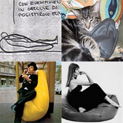 Zanotta's Sacco turns 40 this year! The original mass produced beanbag, design icon, and super comfy seating... We have a peek at the original sketches, met the head of Zanotta, and Marcia's cat has claimed the mini!