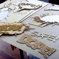 Start is a design collective specializing in Typography, Art Direction and Motion Graphics. Phil Robson and Mathieu Carlot have embarked on Loudmouth which is made by laser cutting, varnishing, gluing, layering and framing.