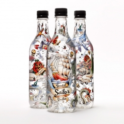 Good ol' Sailor Vodka is a new Swedish vodka made out of organic grain and bottled in a recyclable PET-bottle designed by tattoo artist Aniela from Flash Fighters.