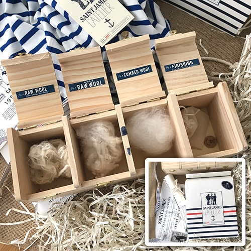 Saint James Press Kit - this French atelier known for their iconic striped shirts and sweaters sent over a kit to get hands on with their materials, process, history, and super soft shirts. Fun packaging and design!