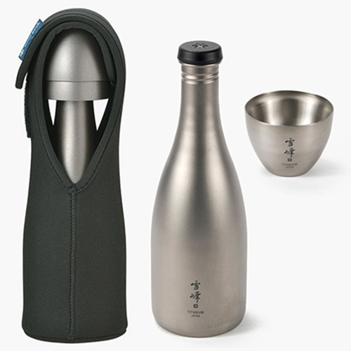 Snow Peak Titanium Saké Set - the single walled bottle is made to chill your saké, the double walled glasses are perfect for both hot and cold saké, and the neoprene sleeve keeps it all together nicely.