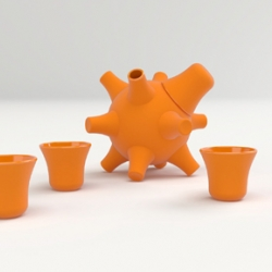 """The ceramic bomb holds 8 fl oz (235ml) of the traditionally Japanese drink and comes with four small beakers, which perch neatly on the spines, making it a compact accessory for any tabletop.    The inspiration is a juxtaposition of the Fugu Fish (Blowfish), the most opulent of sashimi cuts and a WW II sea mine. """"The name is a comical take on the western slang for the same monika meaning to drop sake shots in pints of beer""""."""
