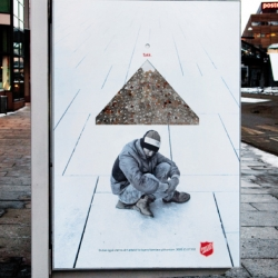 "This winter was very cold, especially for those living on the street. So the Salvation Army got the idea of ""coin-shells"", with a simple message : ""a small coin can make a big difference. Campaign by Try, Oslo, Norway."