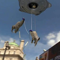 Flying spaceship and bungee jumping elephants as a publicity stunt for the Samsung Jet phone.