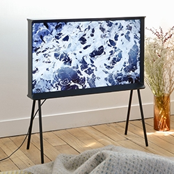 The Bouroullec Brothers designed the Serif TV for Samsung - a beautifully framed work of art! Works just as well on its thin feet as it does on a shelf.