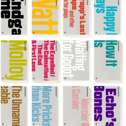 "London-based A2/SW/HK has done some great work including these unified book covers and bespoke typefaces for the complete works of Samuel Beckett. The design matches the 1960s covers in their ""bold typographical approach""."