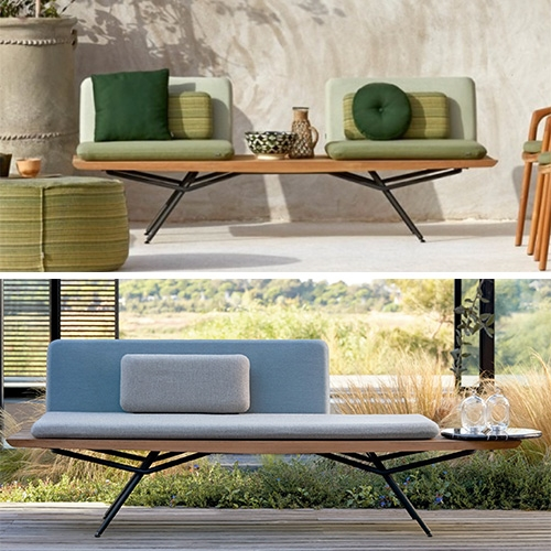 Manutti San Collection designed by Lionel Doyen is stunning in bench, lounger, sofa and hybrid seating modes.