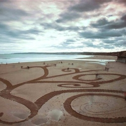 "Big Scale Sand Artworks by Jamie Wardley from England. ""Time is a big challenge when you're working on a beach, you have about six hours from when the tide has gone out before it comes back in again."""